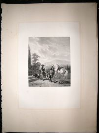 After Mourenhout 1854 LG Folio Steel Engraving. Preparing for the Chase. Horse